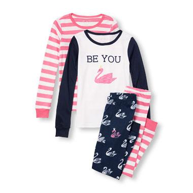 Girls Long Sleeve Flamingo And Striped Top And Pants 4-Piece PJ Set
