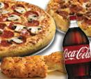 2 Large 2-Topping Pizzas, Stuffed Cheesy Bread and a 2-Liter of Coca-Cola