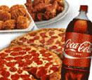 2 Large 1-Topping Pizzas, a 14 piece order of Chicken and a 2-Liter of Coca-Cola®