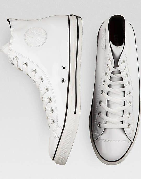 White Patent High-Top Converse Shoes
