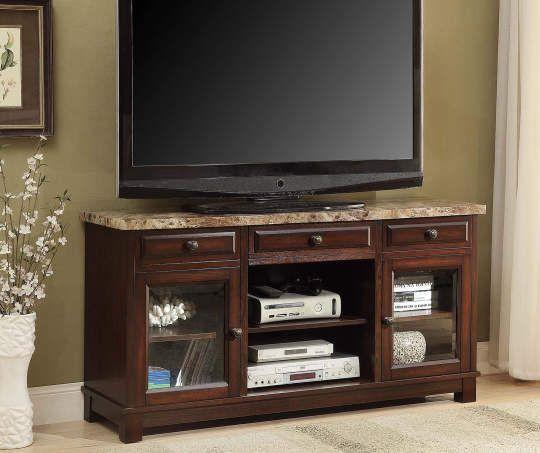 Beautifully Colored Wooden Stand Faux Marble TV Stand