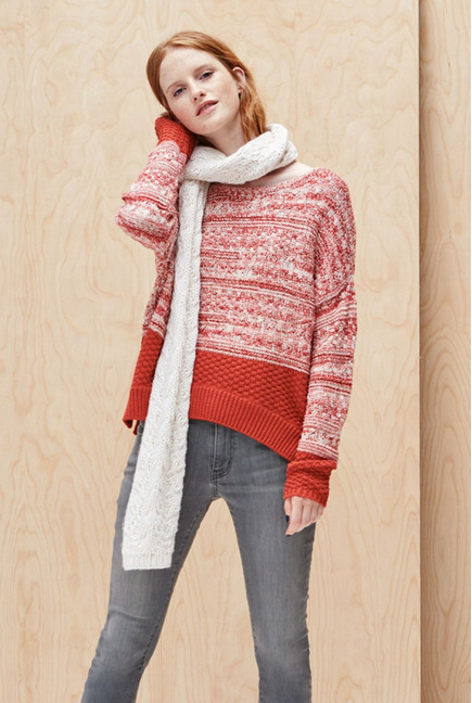 Scooped Neck Caslon Colorblock Marl Knit Sweater