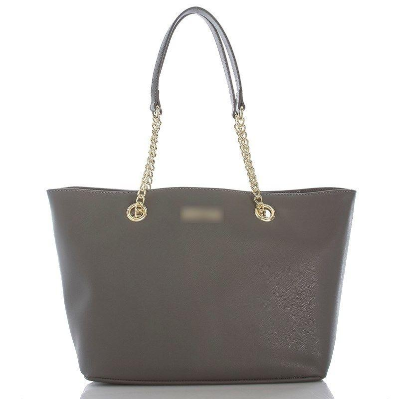 Textured Leather Zipper Chain Strap Tote