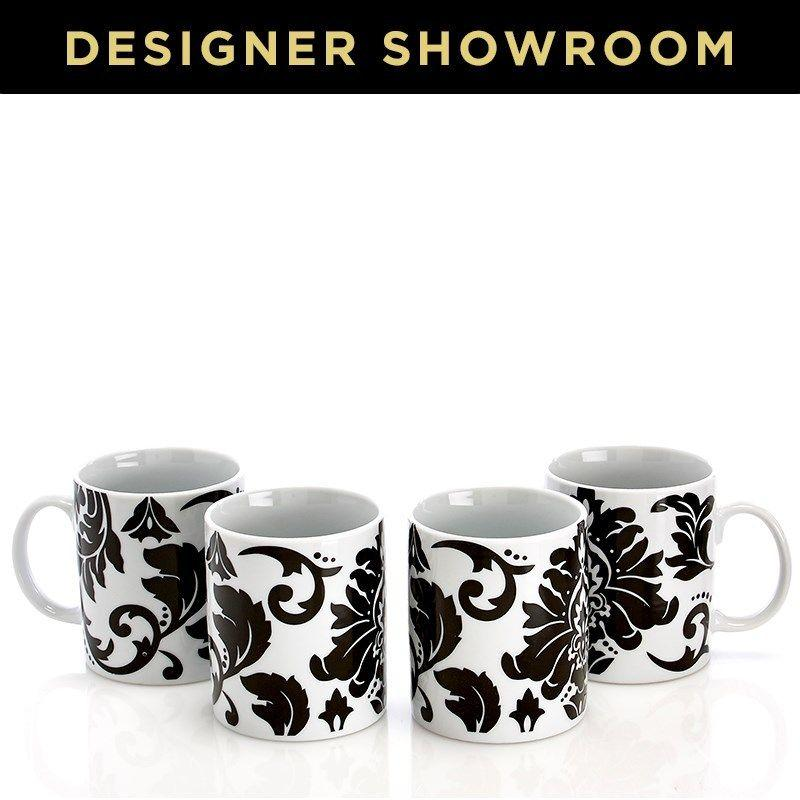 Elegant White And Black Damask Pattern Mug Set