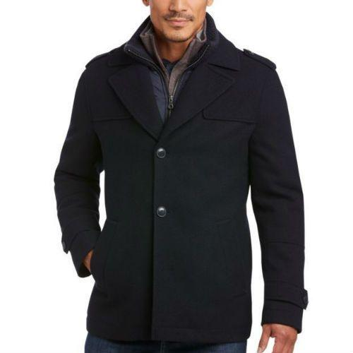Egara Navy Modern Fit Car Coat
