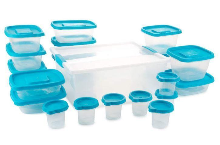 Freezer And Dishwasher Safe Container Set Blue Plastic Food Storage Set