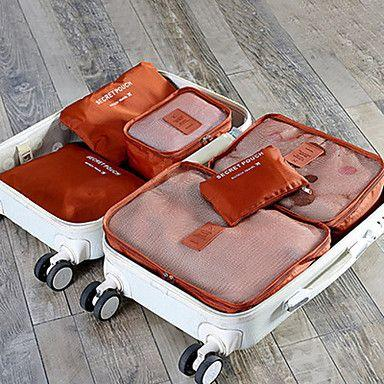 Foldable Durable Waterproof 6 Piece Travel Bag Packing Cubes