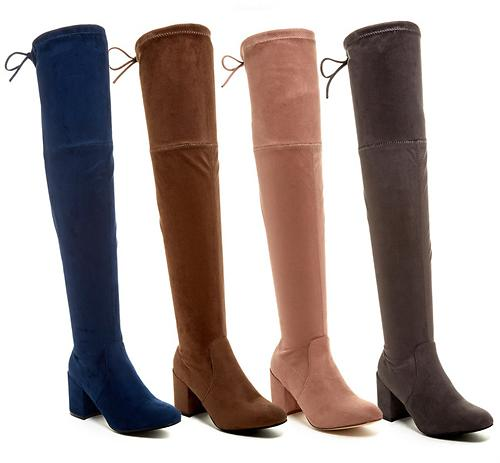 Partial Side Zip Faux Fur Lined Over-The-Knee Boot