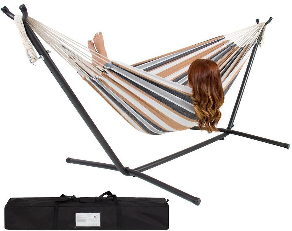 Double Hammock With Space Saving Steel Stand And Carrying Case