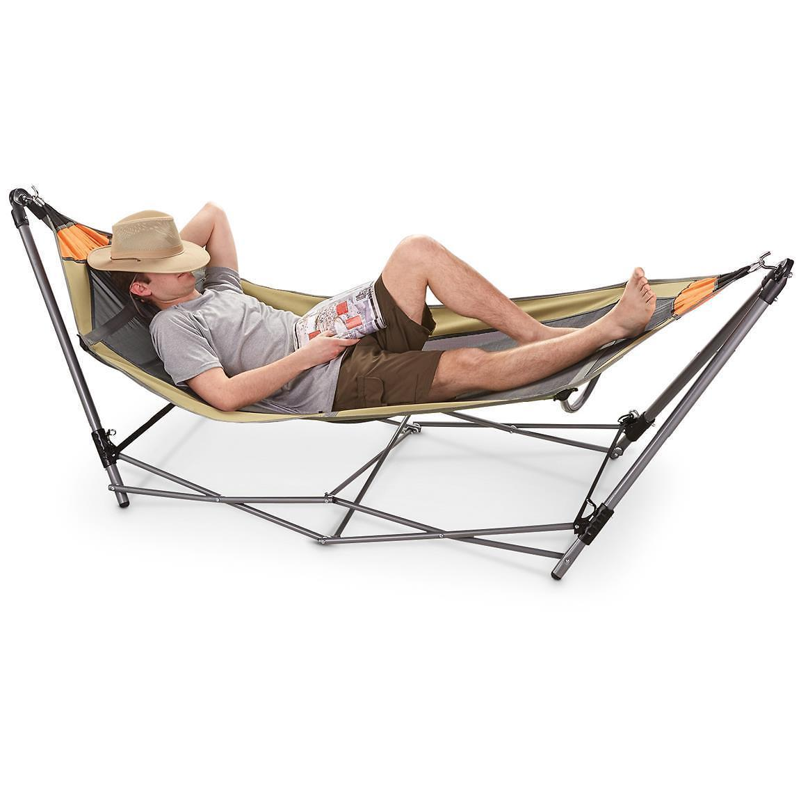 Mesh Fabric Bottom Guide Gear Portable Folding Hammock