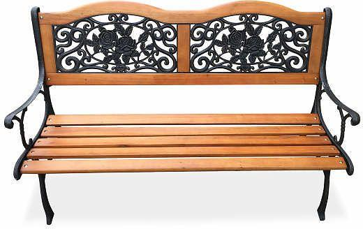 Wilson And Fisher Rose Motif Slat Wood Garden Bench