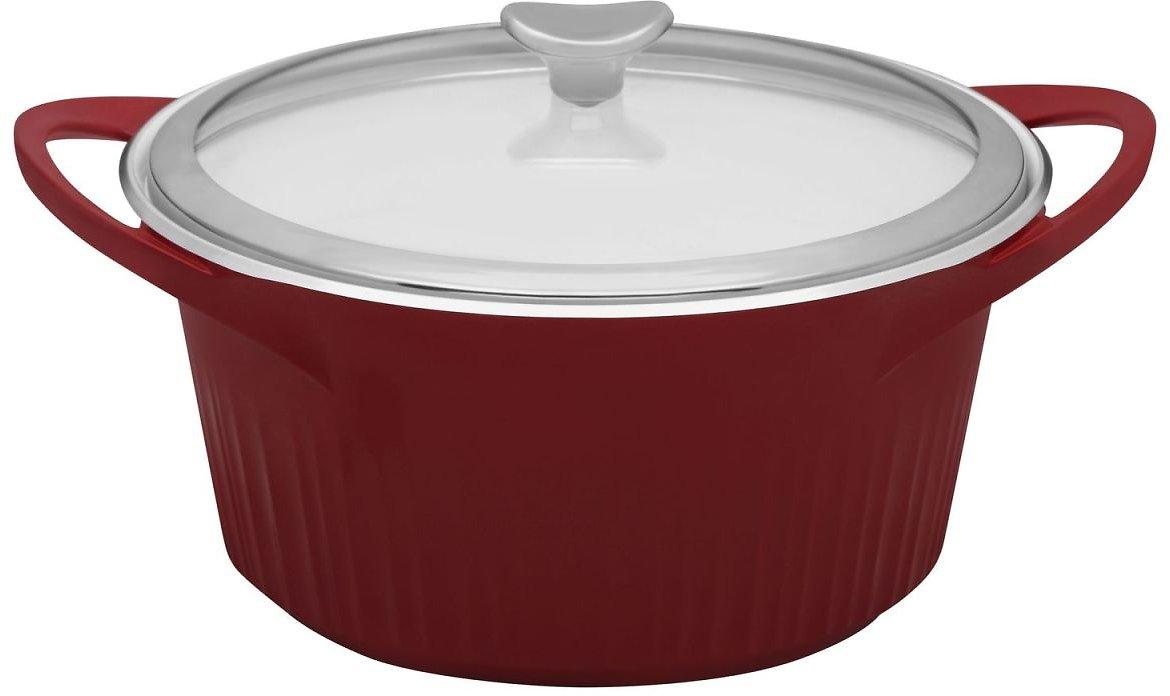 Corningware 5.5Qt Cast Aluminum Red Dutch Oven With Lid