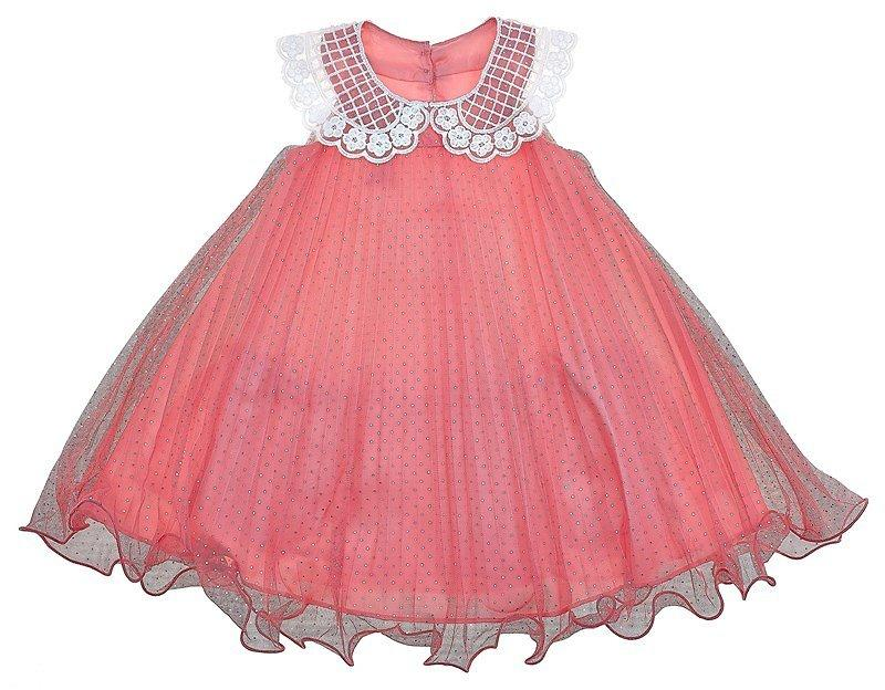 Toddler Girls Pleated Dress With Ruffle Hem And Lace Collar