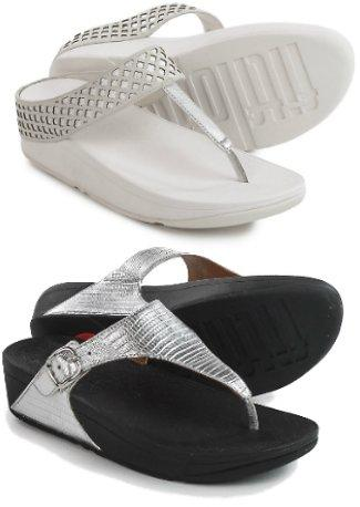 Leather And synthetic Slip Resistant Rubber Fit Flop Safi Toe-Post Sandals