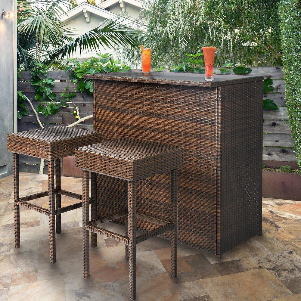 Bestchoiceproducts 3PC Wicker Bar Set Plus Ships Free