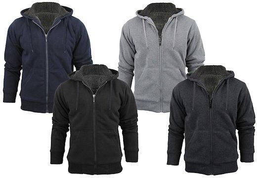 4 Colors Men Extra Thick Sherpa Lined Full Zip Hoodies
