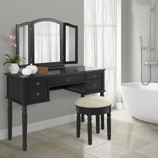 Best Choice Products Tri Mirror Vanity Makeup Table And Bench