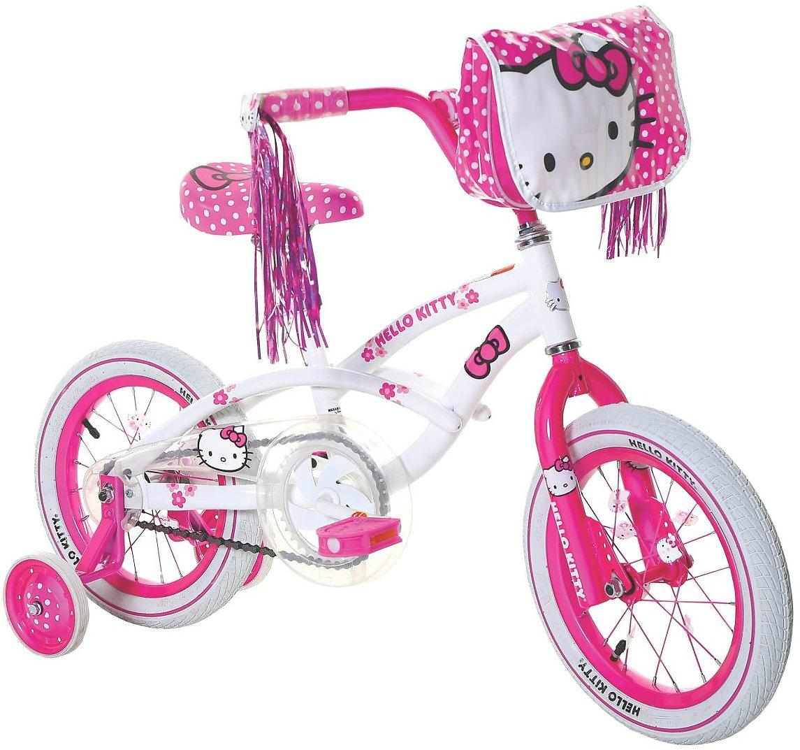 White And Pink Kids Hello Kitty Bike