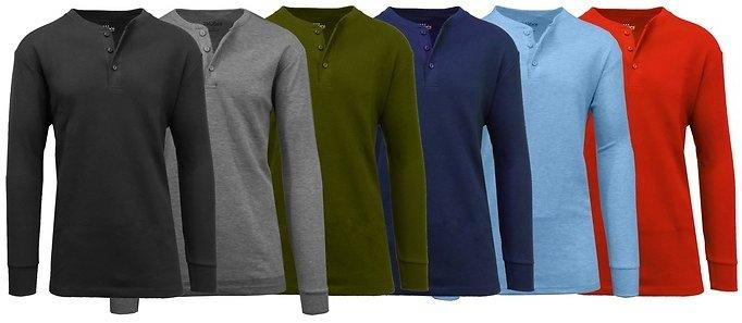 Men Waffle Knit Thermal Henley Tee