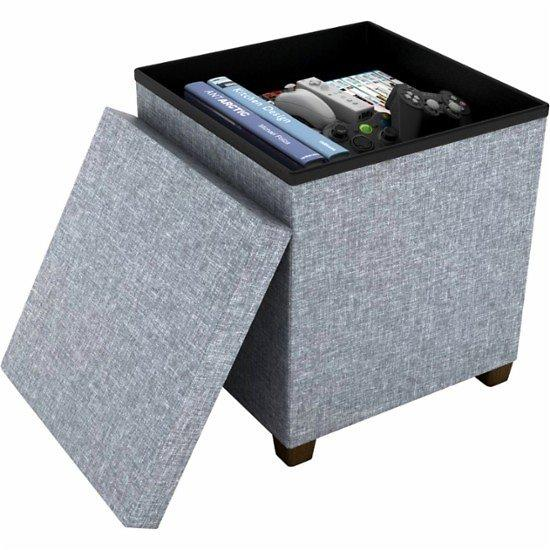 Dark Gray Storage Ottoman Dar Living
