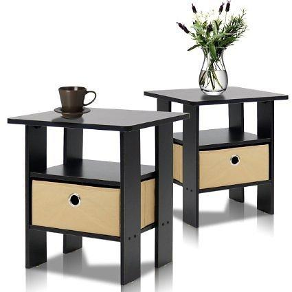 Furinno 2 11157EX End Table Bedroom Night Stand