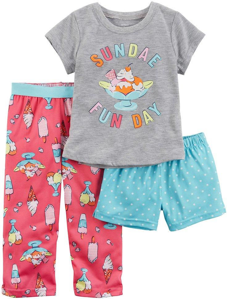 Carter's 3 Piece Toddler Girls Dot Print Pajama Set