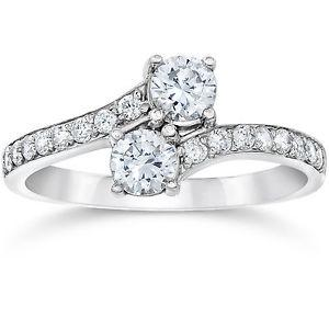 1 Carat Forever Us Round Solitaire Natural Diamond Two Stone Ring 10K White Gold