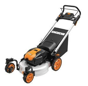 WG771 WORX 19 56V Lithium 3-in-1 Cordless Mower with Locking Caster Wheels