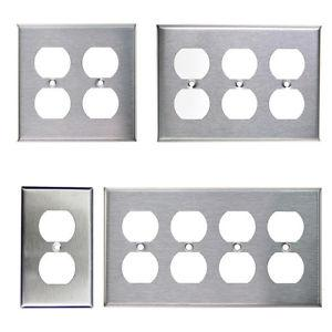 Brushed Stainless Steel Outlet Cover Duplex Metal Wall Plates 1 2 3 4 Gang