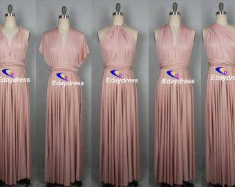 Maxi Full Length Bridesmaid Infinity Convertible Wrap Dress Nude Pink Multiway Long Dresses Party Evening Any Occasion Dresses