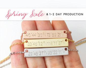 Coordinate Jewelry - Rose Gold Bar Necklace, Custom Hand Stamped Custom Name necklace Coordinate Necklace Coordinate bar necklace