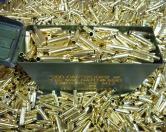 308/7.62 Once Fired Brass, 300 + Pieces. Cleaned and Polished.  This brass is great for reloading, jewelry making and other crafts.