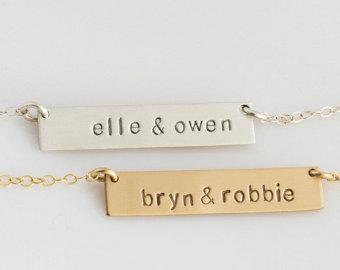 Bar Necklace Personalized Name Plate , Gold Bar Necklace, Gold Name Necklace, Name Bar Necklace, Gift for her, LEILA jewelry, Gold, Silver,