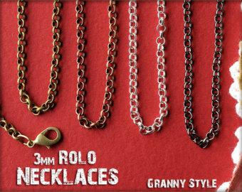 NEW 30 Inch 50 Pieces Rolo Necklaces - Rolo Chain Necklace with Lobster Clasp - Use With Photo Pendants