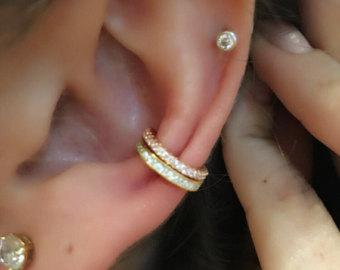 14k gold ear cuff set! Hot! Cuffs climber pave cz sterling 14 k yellow-gold and diamond GLAM ear cuff 2 cuff set!! Silver gold or rose