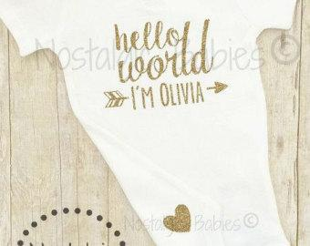 Glitter Gold Hello World, Hello World, Newborn outfit glitter gold Tribal baby Arrow shirt Hospital outfit baby shower photo prop new mom