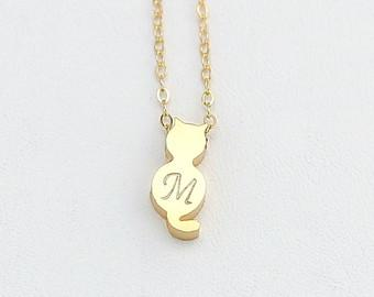 Initial Cat Necklace, Personalized Monogram Cat Jewelry, Double-sided Gold or Silver Cat Charm Necklace, Hand Stamped Small Cat Pendant