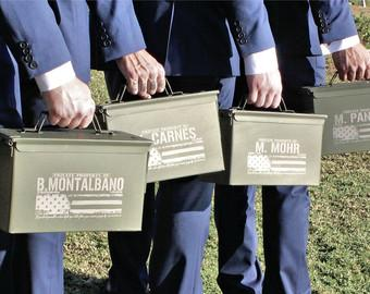 Groomsmen Gift Box, Personalized Gift Box, Ammo Can, 50 cal, Father of the Groom, Ammo box for Groomsmen, Mens Wedding Gifts