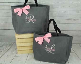 4 Bridesmaids Gifts Tote Bag Personalized Tote, Bridesmaid Gift, Monogrammed Tote, Wedding Tote, Bridal Party Personalize