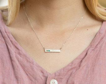 Silver Bar Necklace with Blessed on the back, Sterling Birthstone Bar Necklace. Perfect Family Necklace or Mother's Birthstone Necklace!
