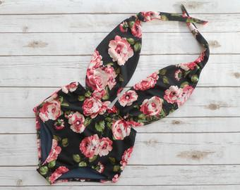 Swimsuit High Waisted Vintage Style One Piece - Retro Pin-up Maillot - Black Pink Rose Floral Print Design Plunge Neck Bathing Suit Swimwear