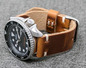 Leather Watch Strap   Horween Leather English Tan Dublin Watch Band    The Hudson Strap