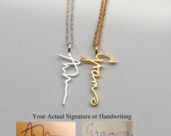 Actual Personalized Necklace  - Handwriting Jewelry - Custom Necklace - Vertical Pendant