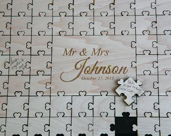 Custom Wedding Guest Book Puzzle Guestbook