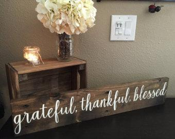 Pallet Wood Sign Grateful Thankful Blessed Sign - 5.5x30 - Rustic Home Decor Shabby Chic Art Hand Painted (Item Number PWS0130025)