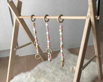 Handmade Wooden Play Gym with Removable Teething Bracelet