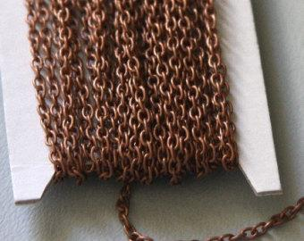 45 ft Copper Chain Antiqued copper round cable chain 2.6X3.9mm - unsoldered, bulk copper chain