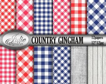 Navy and Red Country gingham digital papers, blue picnic table cloth checkered paper, plaid background pattern. Instant Download