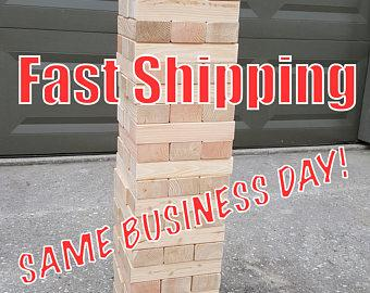 Giant Jenga inspired - Texan Towers - w/ optional carrying tote - 54 pcs - FAST SHIPPING! 7.5 sanded and planed pieces for smooth play!