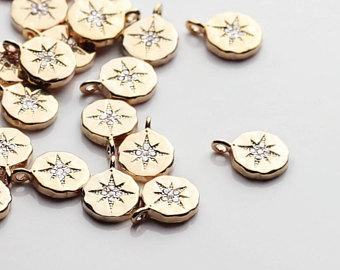 2PCS Gold Dainty Compass Charm With Cubic Zirconia Crystals 2DCC-G